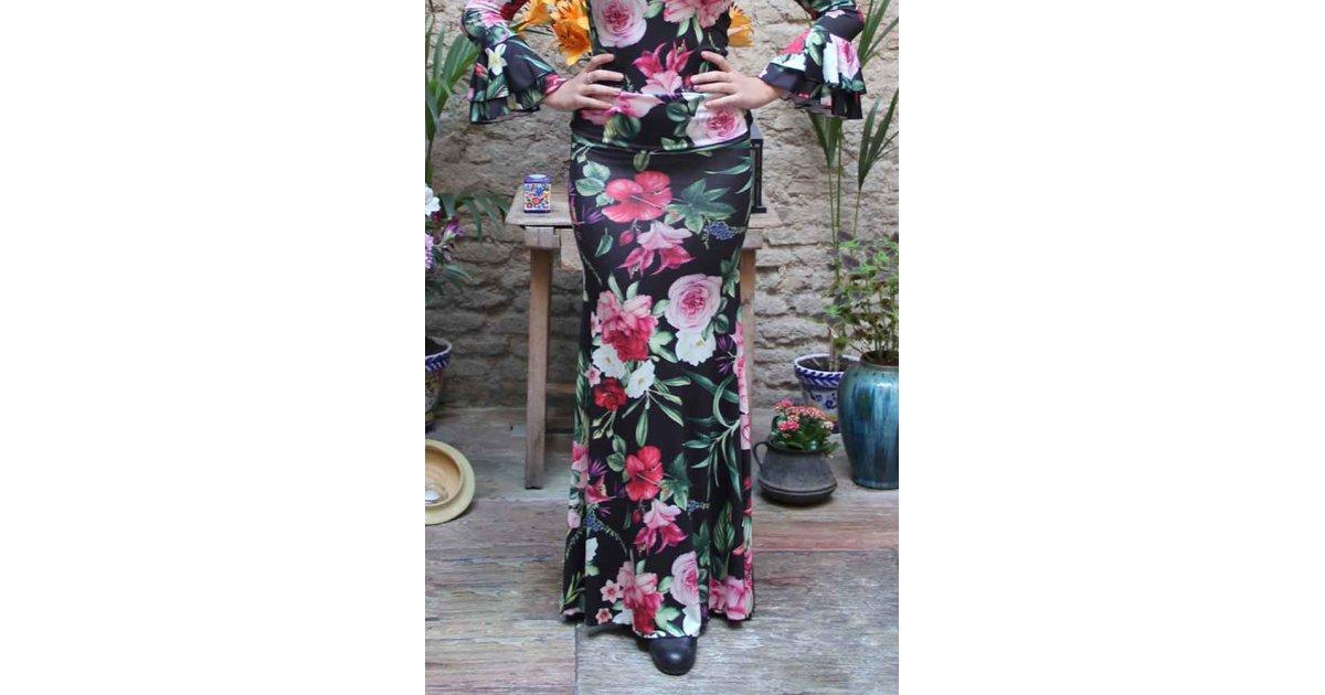 Jupe de flamenco Alajar imprimé floral