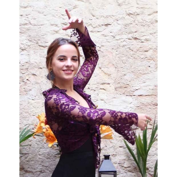 Cárdigan Flamenco Color Vino Blonda