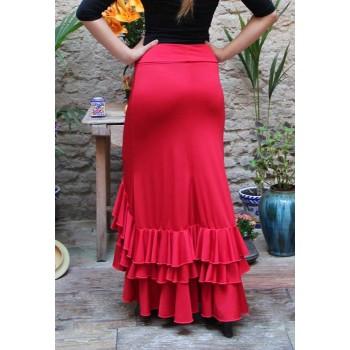 Falda Flamenco Roja 3 Volantes
