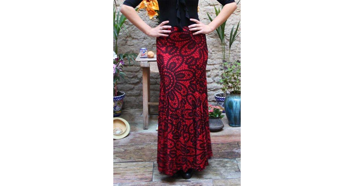 Falda Flamenco Estampado Rojo
