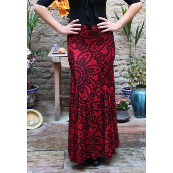 Red Print Flamenco Skirt