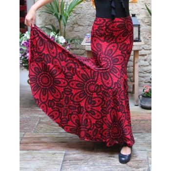 Jupe Flamenco Imprimée Rouge