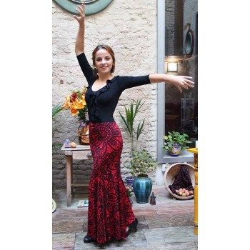 Red Print Flamenco Skirt