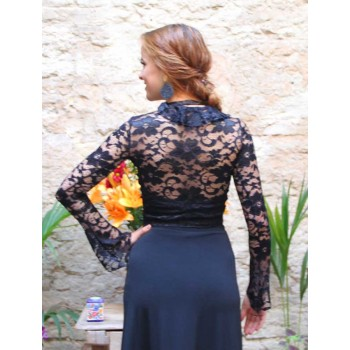 Cárdigan Flamenco Negro Blonda