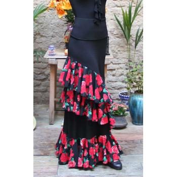 Jupe de flamenco noire Onil