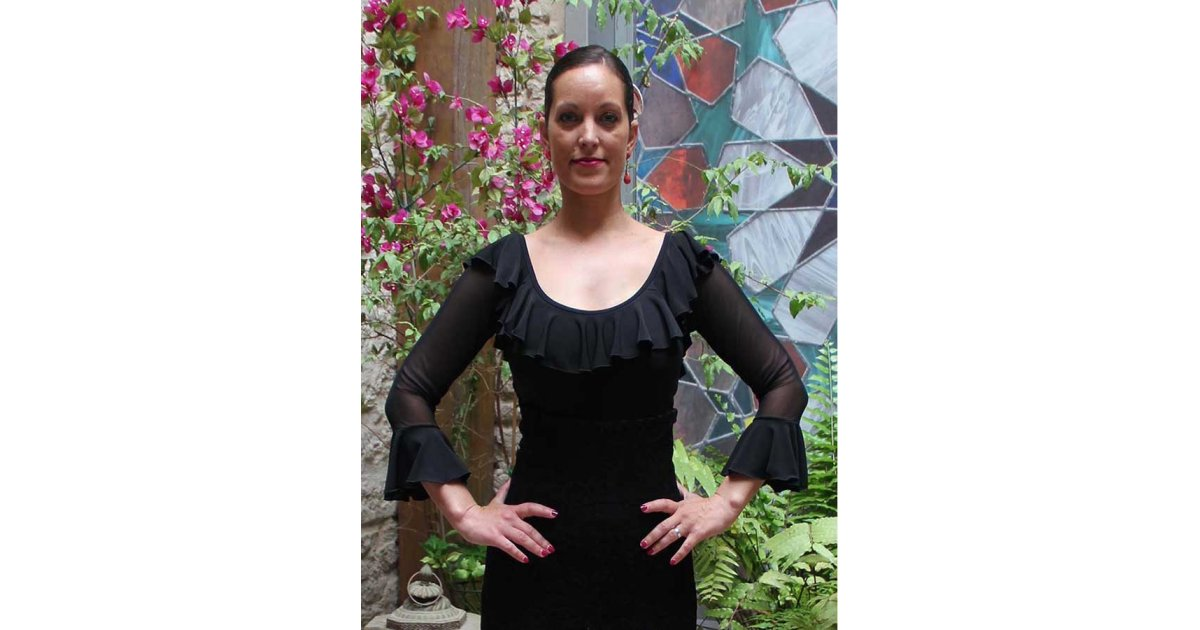 Top Flamenco Negro Mangas de Tul