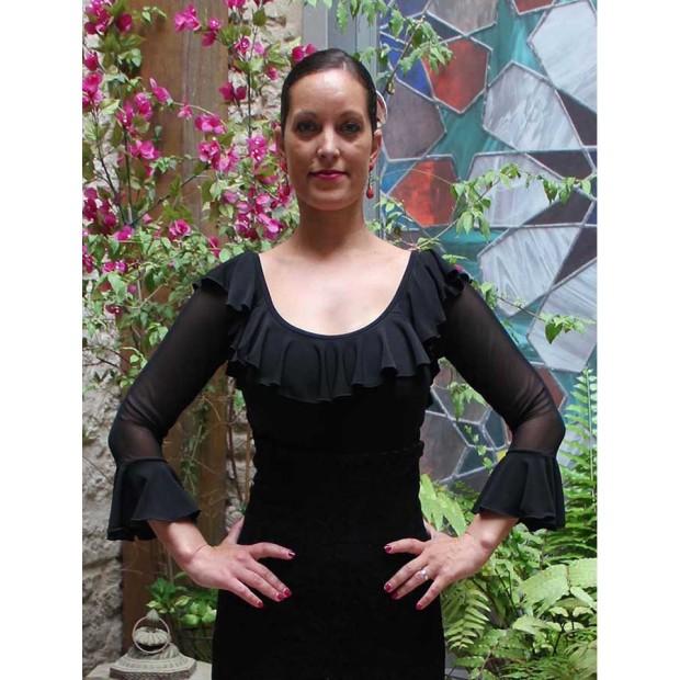 Black Flamenco Top Tulle Sleeves