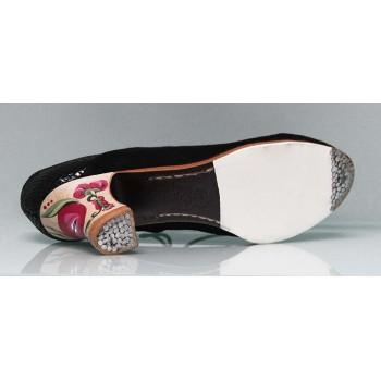 Chaussure de danse flamenco professionnelle en daim et serpent noir