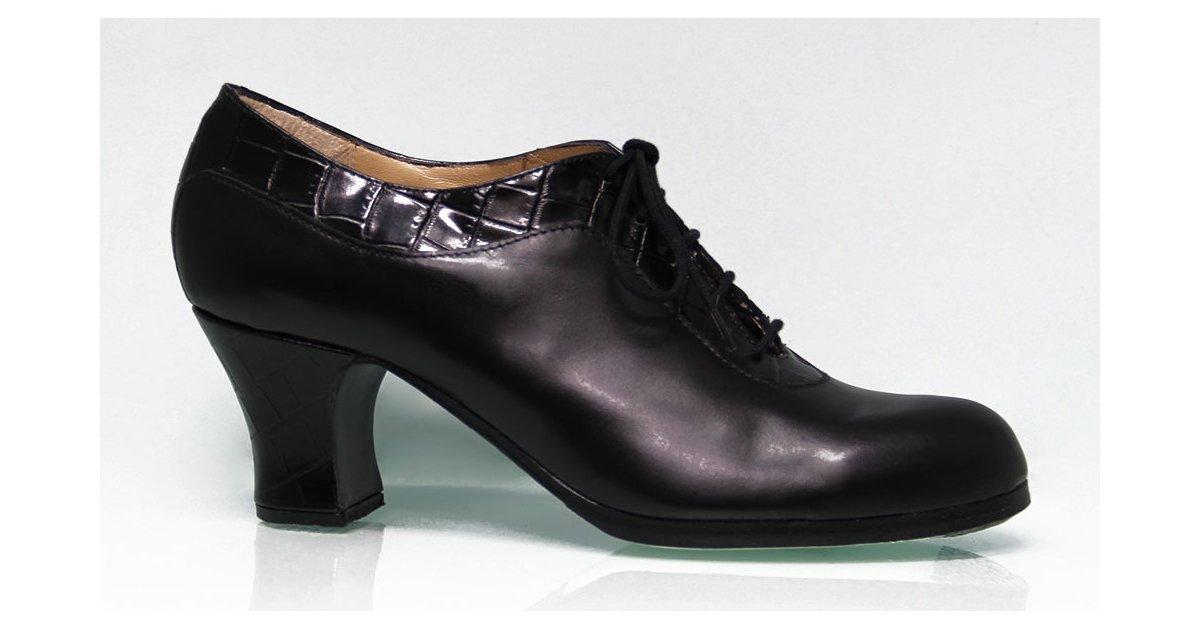 Zapato de baile Flamenco Profesional Abotinado combinado piel negro y coco