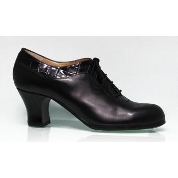 Chaussure de danse flamenco professionnelle en cuir noir et noix de coco