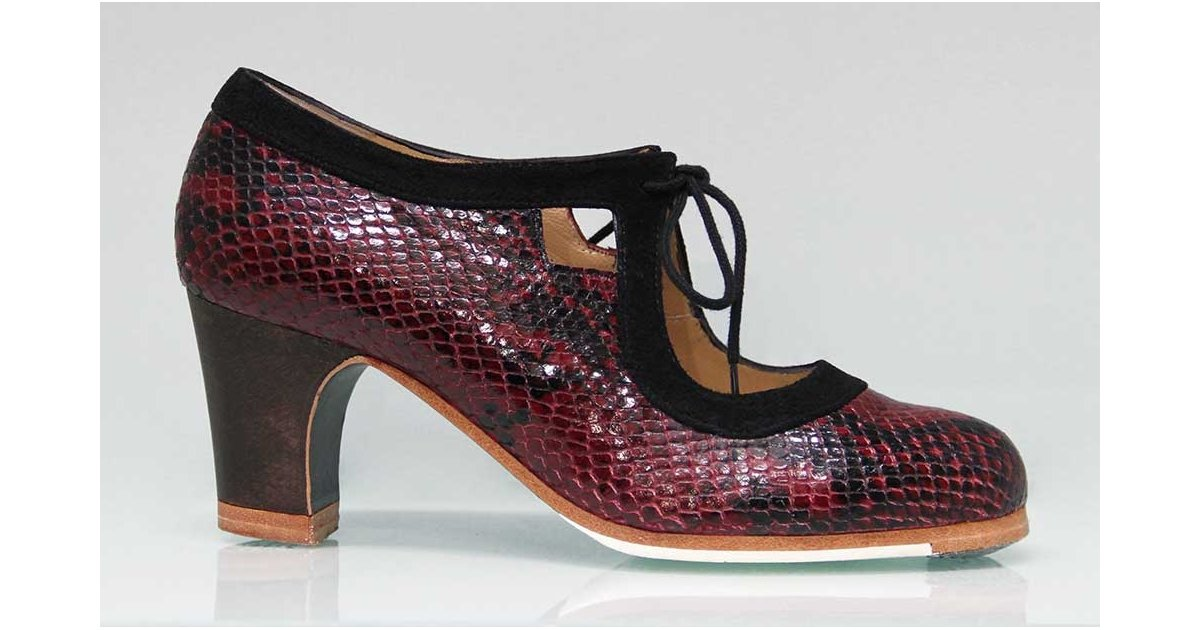 Professional Flamenco Dance Shoe Combined Snake Fantasy Skin and Black Suede