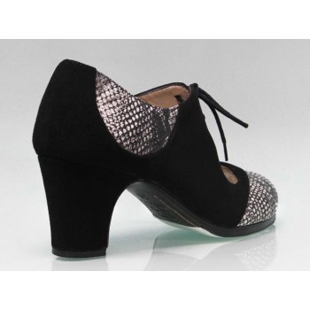 Professional Flamenco Dance Shoe Combined Black Suede and Snake Fantasy Leather
