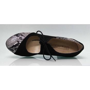 Chaussure de danse flamenco professionnelle combinée en daim noir et cuir fantaisie serpent