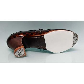Chaussure de danse flamenco professionnelle combinée en cuir verni marron et daim marron et noir