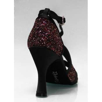 Black and Glitter Combined Ballroom Dance Shoe