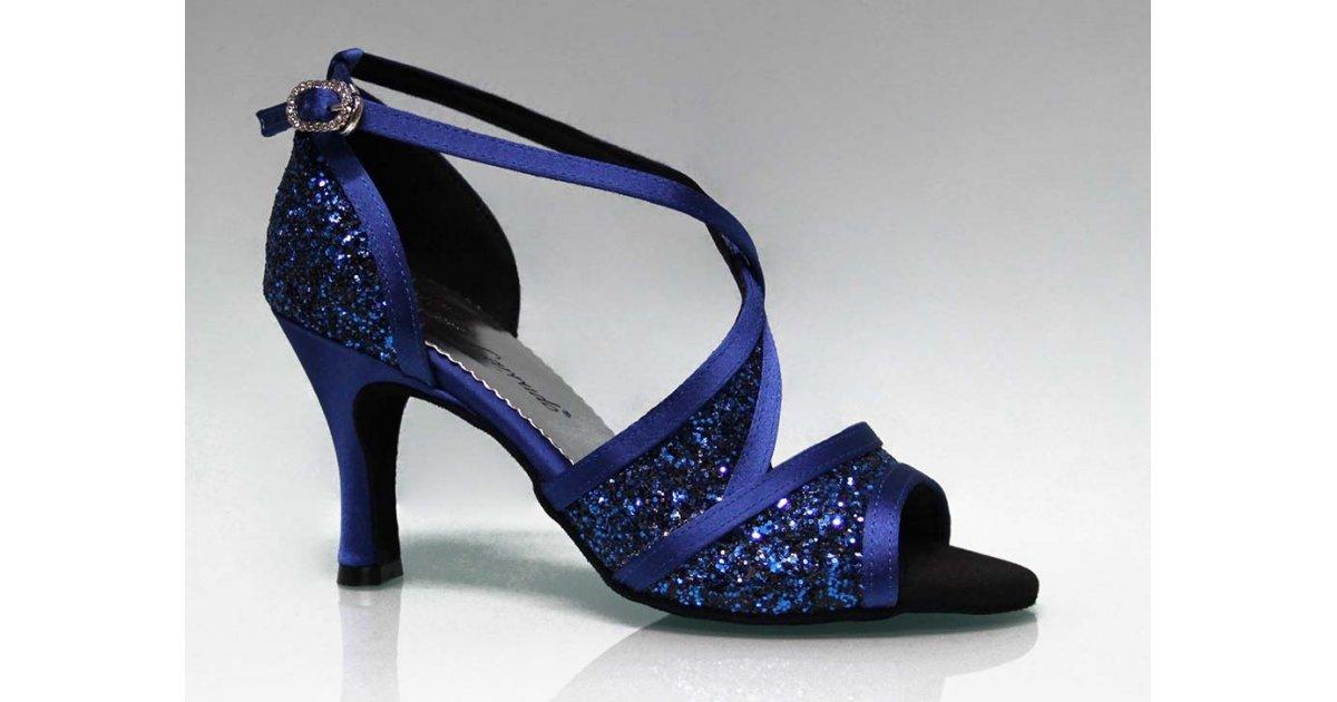 Chaussure de danse de salon combinée bleue et pailletée