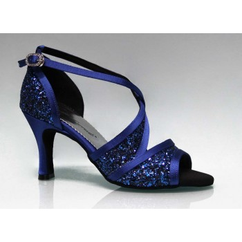 Blue and Glitter Combined Ballroom Dance Shoe