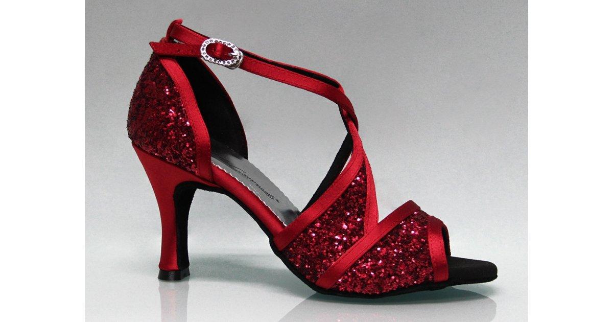 Chaussure de danse de salon combinée rouge et scintillante