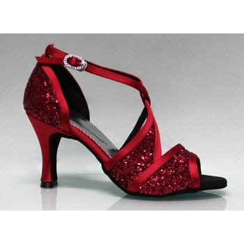 Red and Glitter Combined Ballroom Dance Shoe