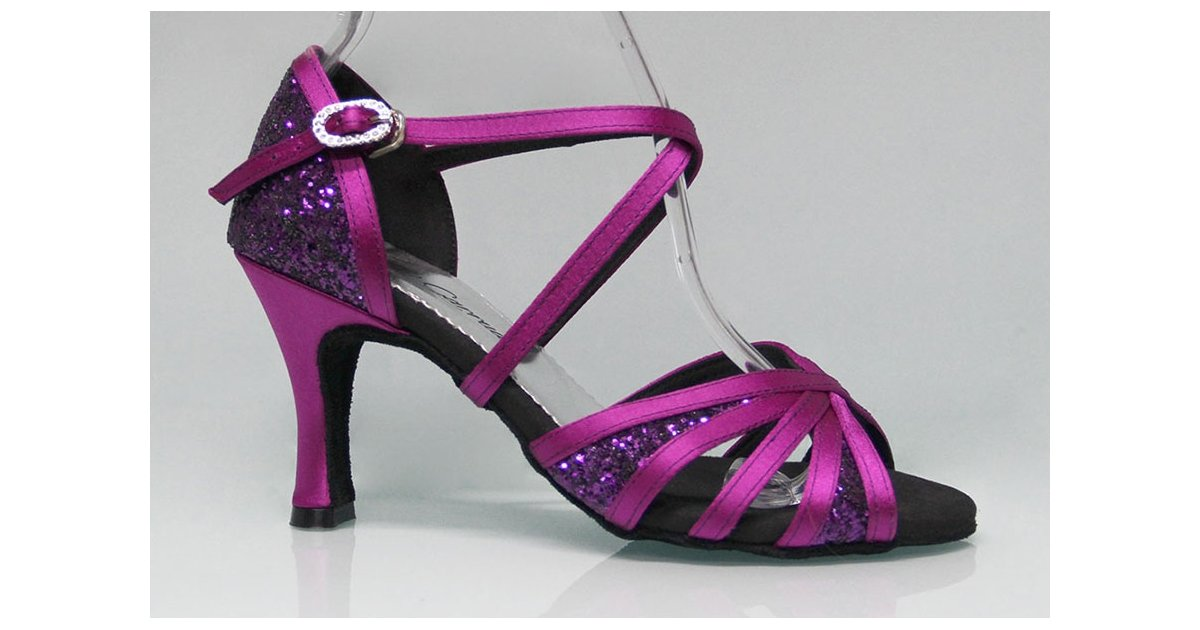 Purple and Glitter Combined Ballroom Dance Shoe