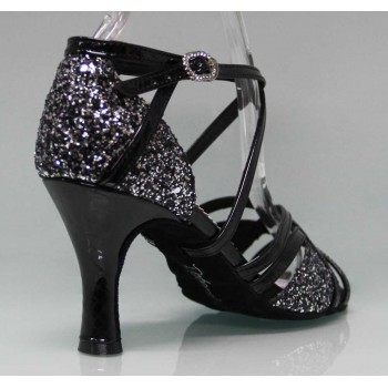 Shoe for Ballroom Dance Combined Black Patent Leather and Glitter