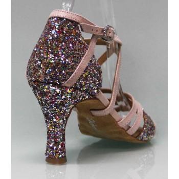 Zapato para Baile de Salón Combinado Piel de Ante Nude y Glitter