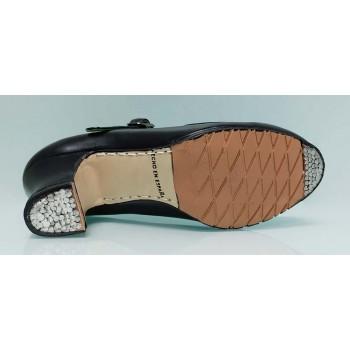 Zapato de Baile Flamenco Semiprofesional Piel Negro Cosido