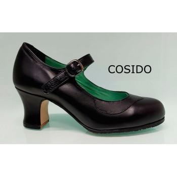 Chaussures de danse flamenco semi-professionnelles en cuir noir cousues