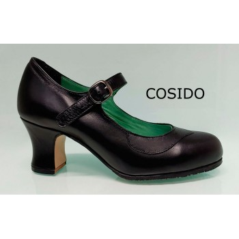 Flamenco Dance Shoes Semi-Professional Black Leather Stitched