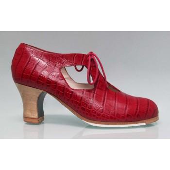 Chaussure de Danse Flamenco Professionnelle Cuir Fantaisie Crocodile Rouge