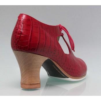 Zapato de Baile Flamenco Profesional Piel Coco Rojo