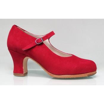 Chaussure de danse flamenco professionnelle en daim rouge