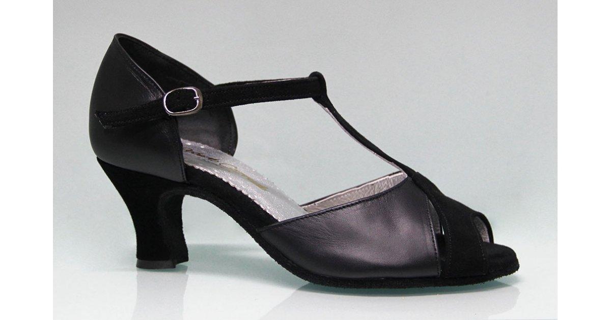 Zapato para Baile de Salón Combinado Piel y Ante Negro