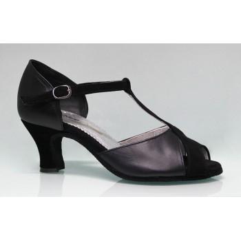 Chaussure de danse de salon combinée en cuir et daim noir