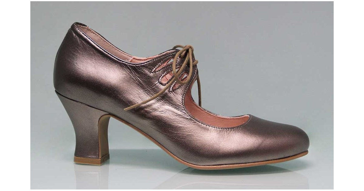 Flamenco Shoe with Metallic Bronze Leather Laces