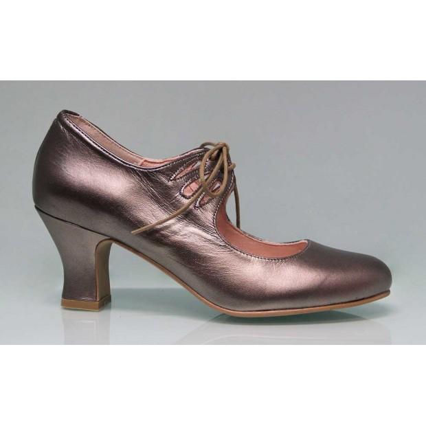 Chaussure de flamenco avec lacets en cuir bronze métallisé