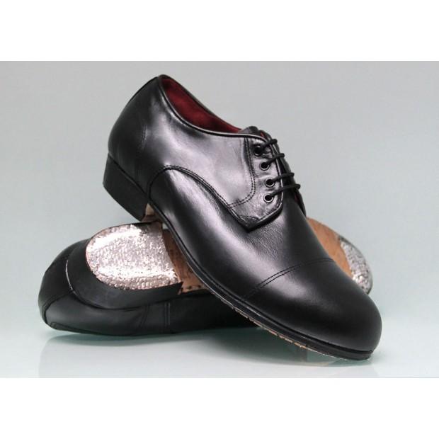 Chaussure de flamenco professionnelle noire à talon bas