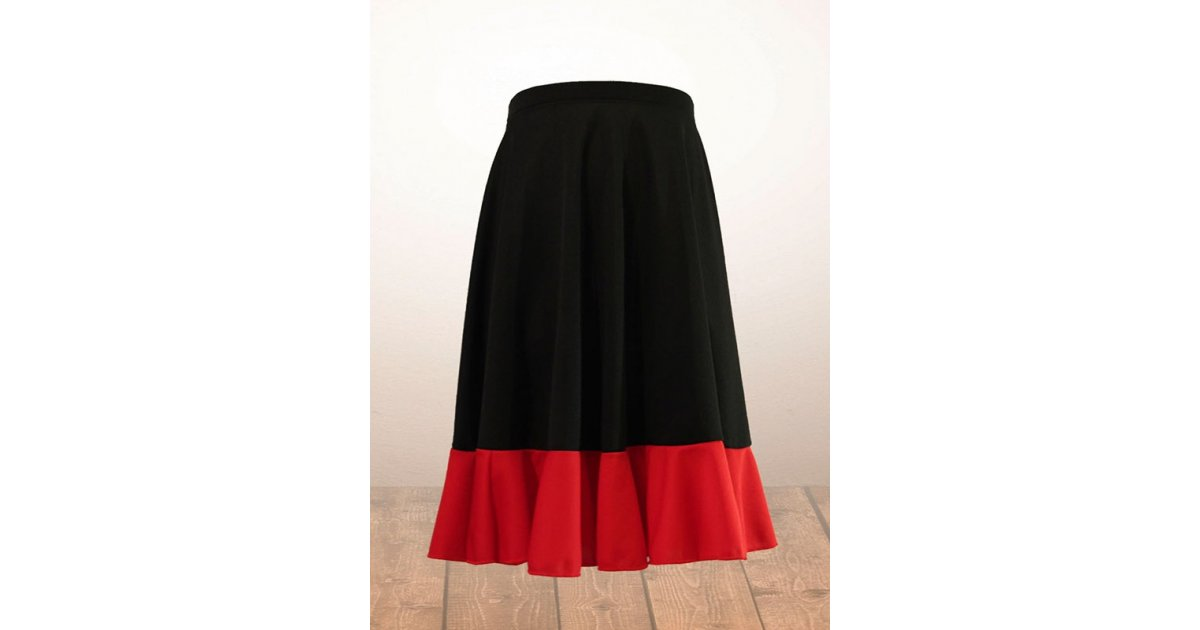 Black and Red Girl Flamenco Skirt
