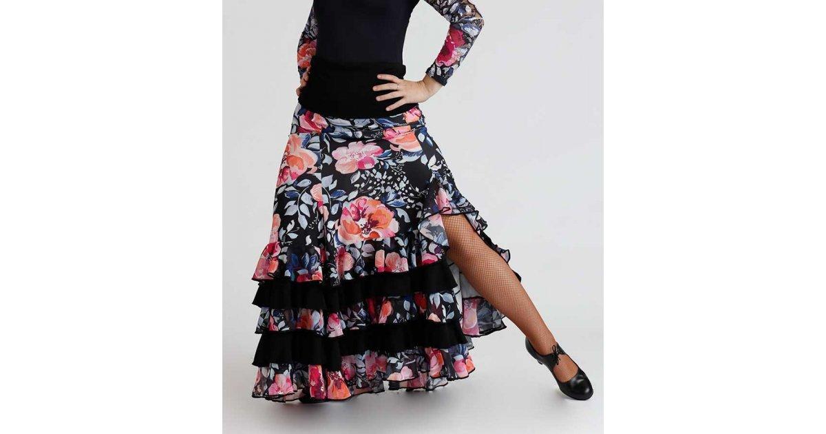 Falda Flamenco Entallada Estampada Flores