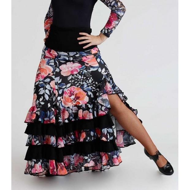Jupe flamenco imprimé floral