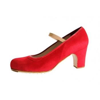 Zapato profesional ante rojo con elástico