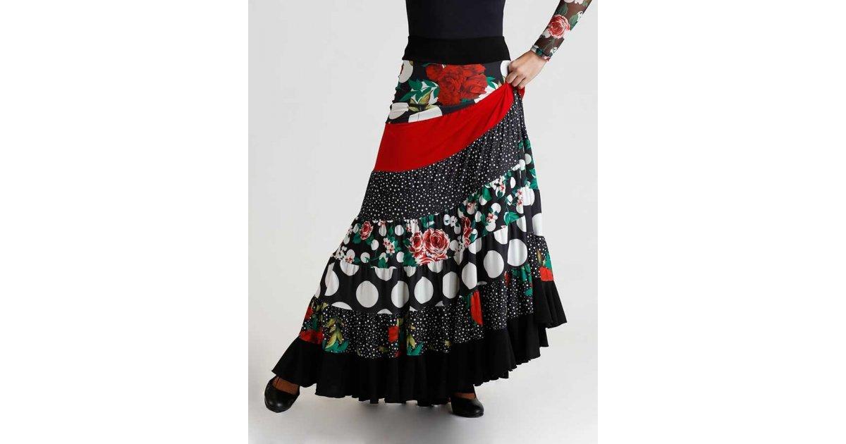 Jupe à empiècement flamenco multicolore