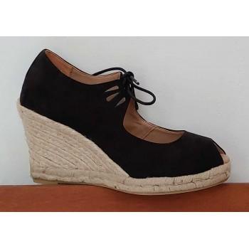Black Esparto Shoe With Laces
