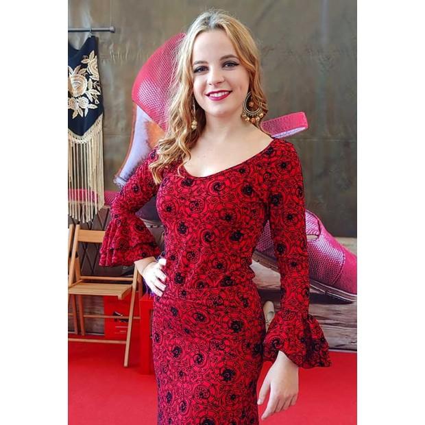 Top flamenco rojo estampado