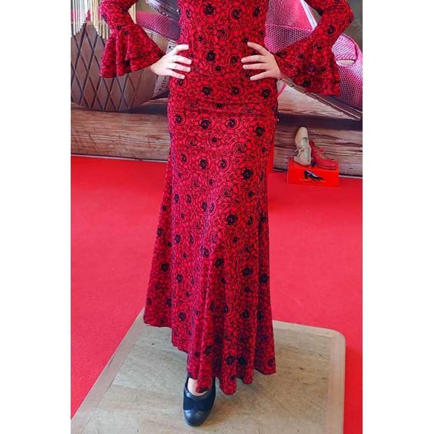 Falda Flamenco Capote Roja