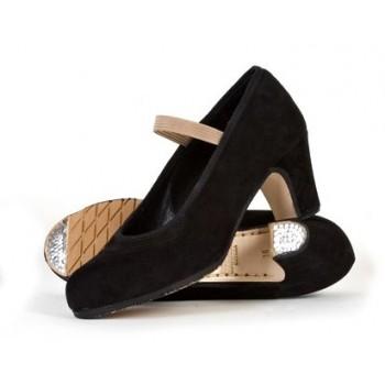 Chaussure professionnelle en daim noir avec élastique