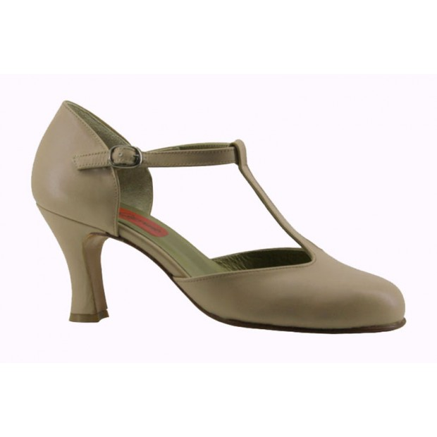 Beige Leather Ballroom Shoe