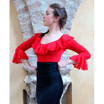 Top Flamenco Rouge Volants...