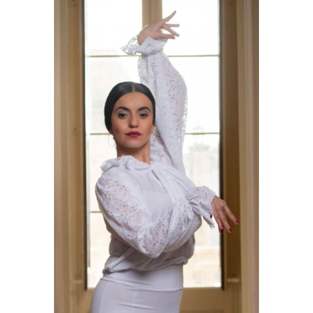 White Leman Flamenco Shirt...