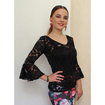Black Lace Lace Flamenco Top